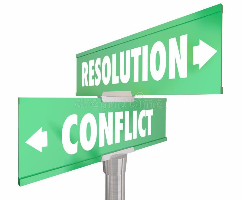 Conflicto contra placas de calle bidireccionales del camino de la resolución 2 ilustración del vector