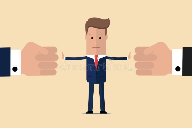 Conflicto de la parada El ?rbitro del hombre de negocios encuentra compromiso Mediador que soluciona la competencia Conflicto y s stock de ilustración