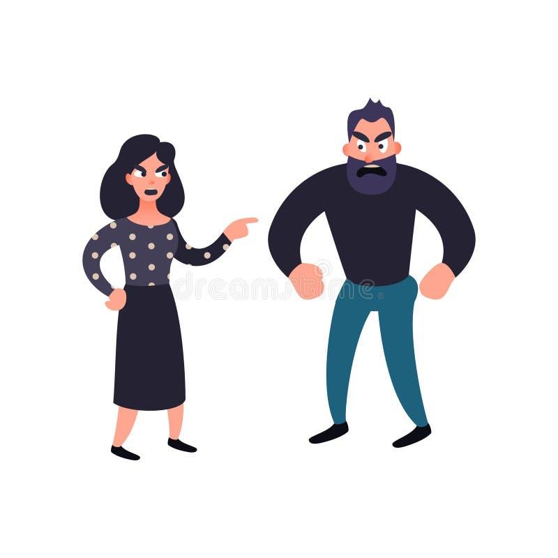 Conflicto del hombre y de la mujer Pelea de la familia Problemas en concepto de la relación Pares enojados que luchan y que grita ilustración del vector