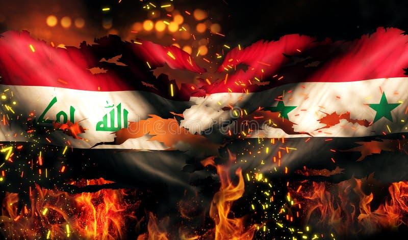 Conflicto internacional rasgado guerra 3D del fuego de la bandera de Iraq Siria ilustración del vector
