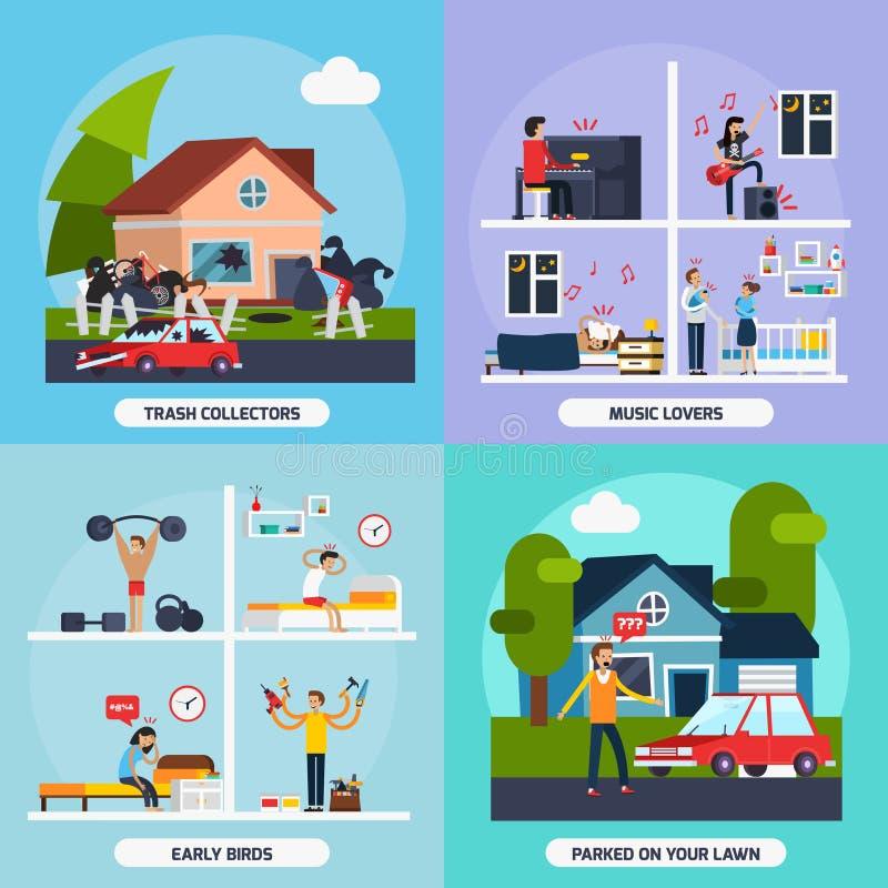 Conflictos con los iconos del concepto de los vecinos fijados ilustración del vector