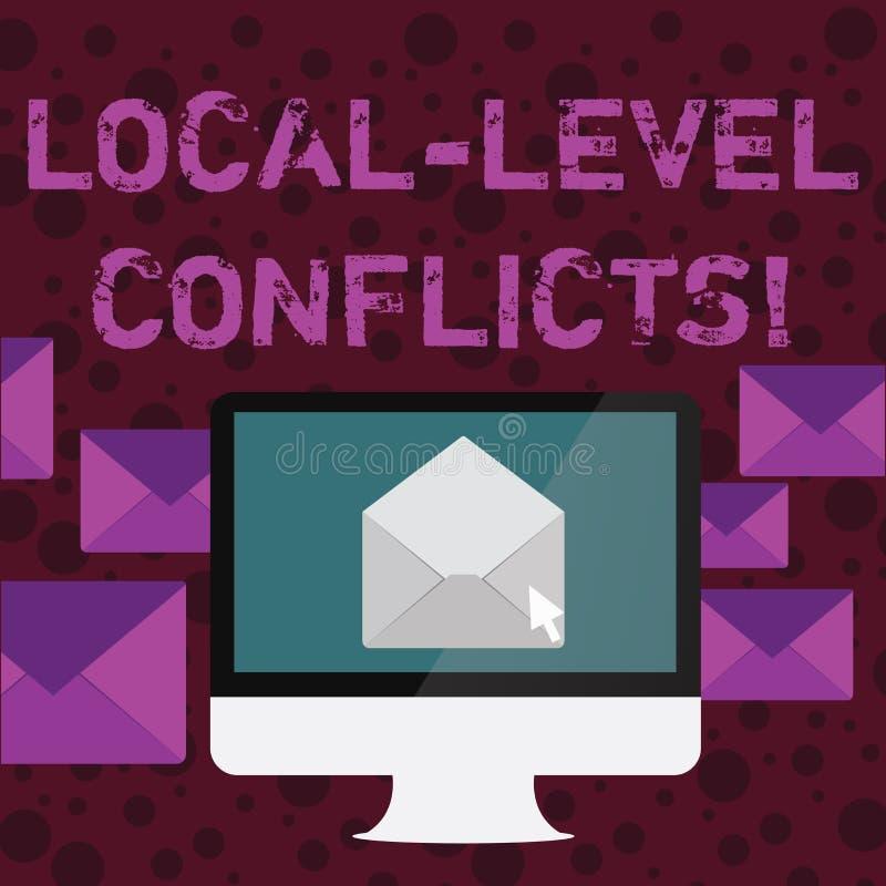 Conflictos conceptuales del nivel local de la demostración de la escritura de la mano Texto de la foto del negocio que crea ince libre illustration