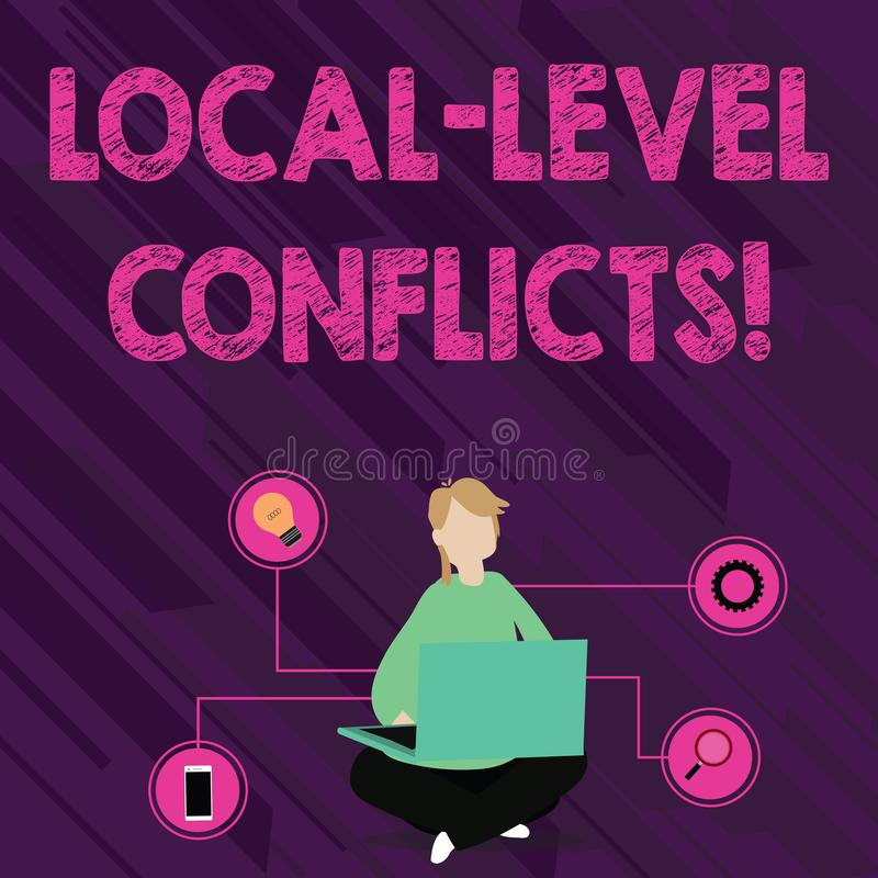 Conflictos del nivel local de la demostración de la muestra del texto Foto conceptual que crea incentivos locales para estropear stock de ilustración