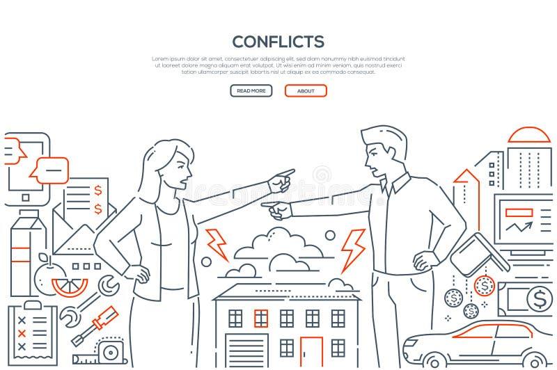 Conflictos - línea bandera del estilo del diseño con el lugar para el texto ilustración del vector