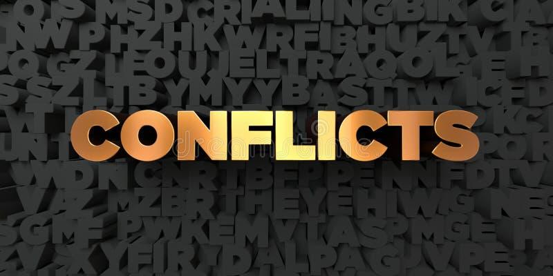Conflictos - texto del oro en fondo negro - imagen común libre rendida 3D de los derechos libre illustration