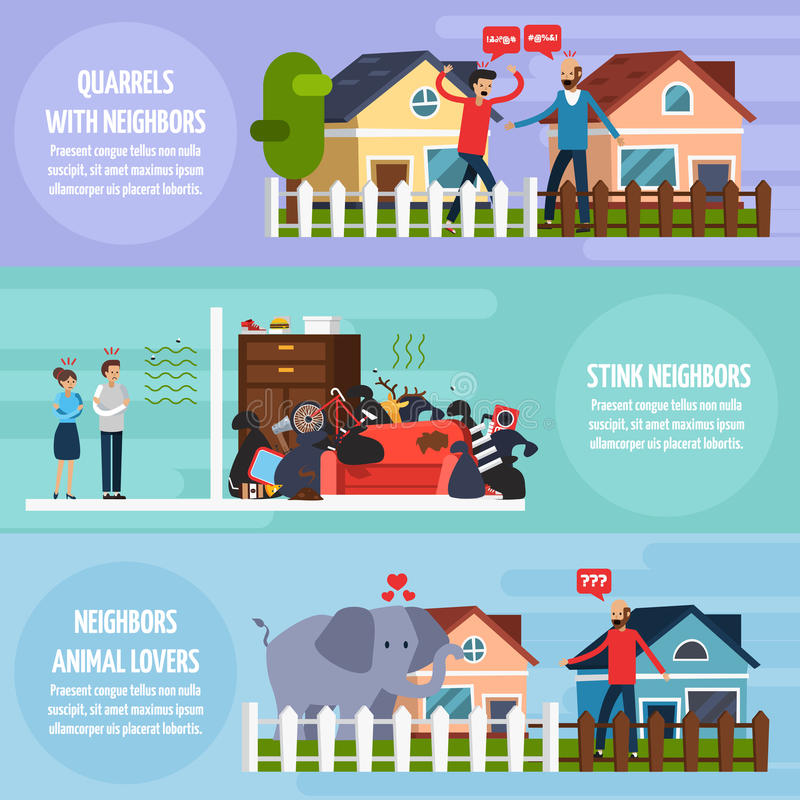 Conflicts With Neighbors Banners Set stock illustration