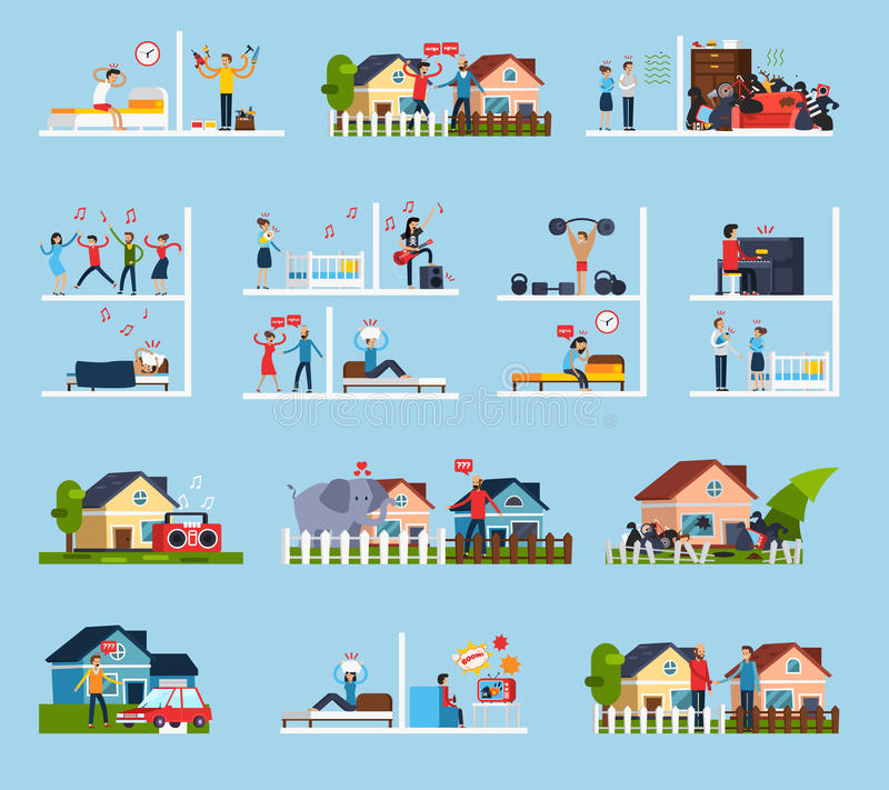 Conflicts With Neighbors Icons Set. With noise symbols flat isolated vector illustration vector illustration