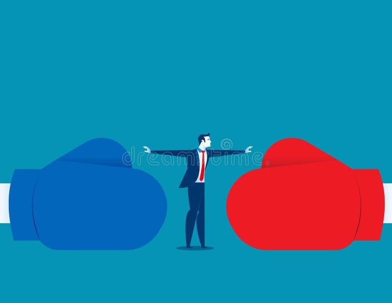 Conflit d'arrêt d'homme ou combat d'arrêt Illustratio d'affaires de concept illustration stock