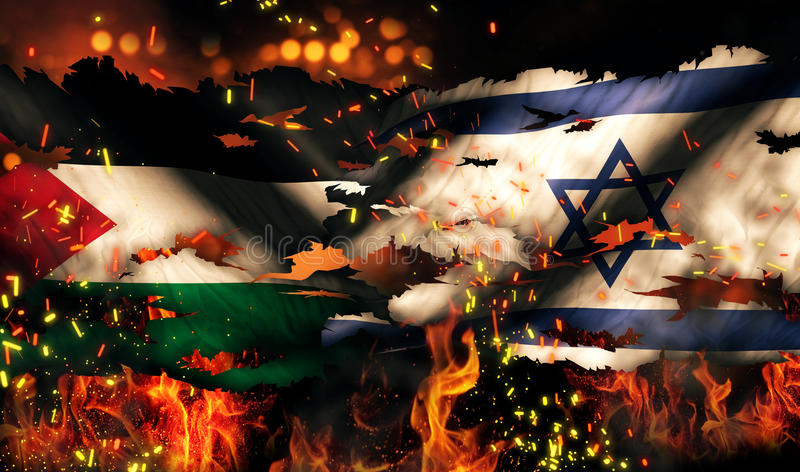 Conflit international 3D de la Palestine Israel Flag War Torn Fire illustration libre de droits