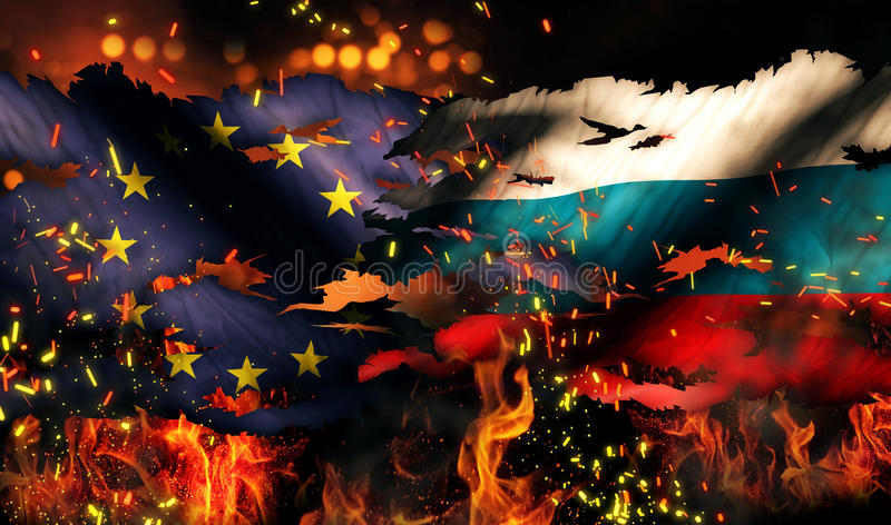 Conflit international 3D du feu déchiré par guerre de drapeau de l'Europe Russie illustration de vecteur