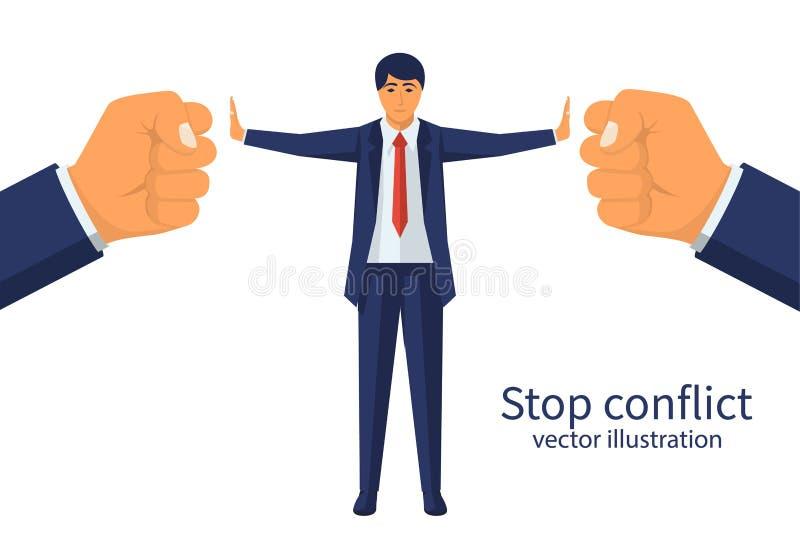 Conflito da parada O árbitro do homem de negócios encontra o acordo ilustração stock