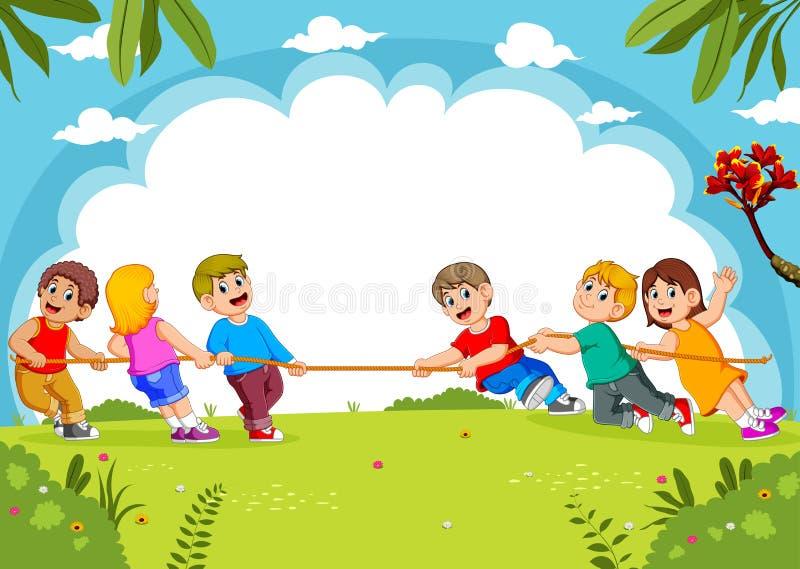 Conflito do jogo de crian?as no parque ilustração do vetor