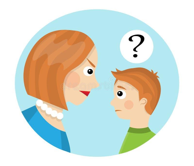 Conflito entre a mãe e a criança ilustração royalty free