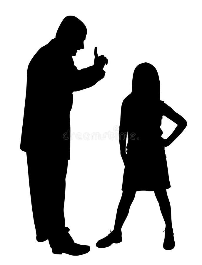 Conflito entre o pai e a criança desafiante ilustração royalty free