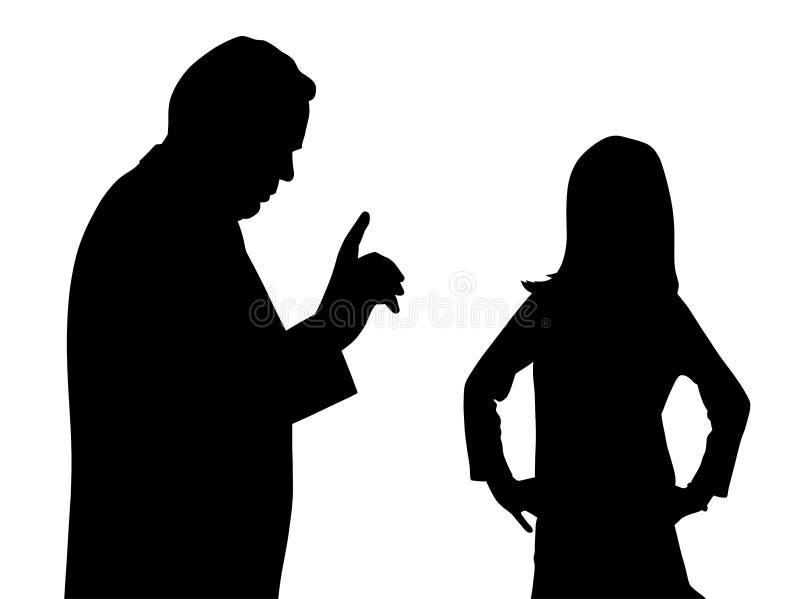 Conflito entre o pai e a criança desafiante ilustração stock