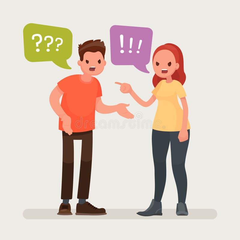 Conflito Um homem e uma discussão da mulher Ilustração do vetor ilustração royalty free