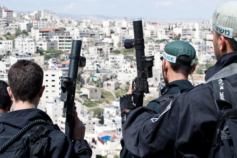 Conflitos em Jerusalem do leste fotografia de stock