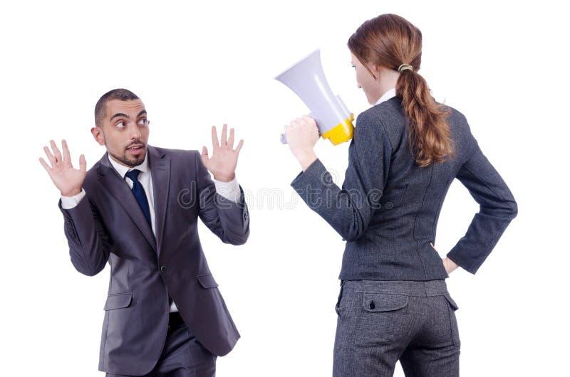 Conflitto dell'ufficio fra l'uomo e la donna isolati immagini stock libere da diritti