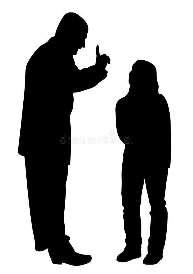 Conflitto fra il padre e la figlia adolescente illustrazione di stock