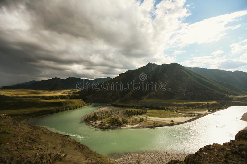 Confluence of two rivers. In the Altai Mountains royalty free stock photo