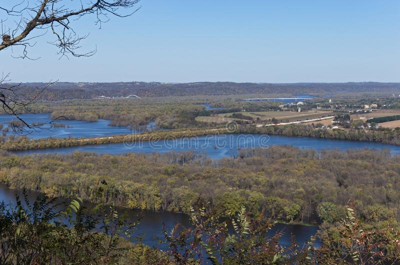 Confluence of Rivers at Wyalusing State Park. Confluence of wisconsin and mississippi rivers from atop bluffs at wyalusing state park and iowa in distance stock images