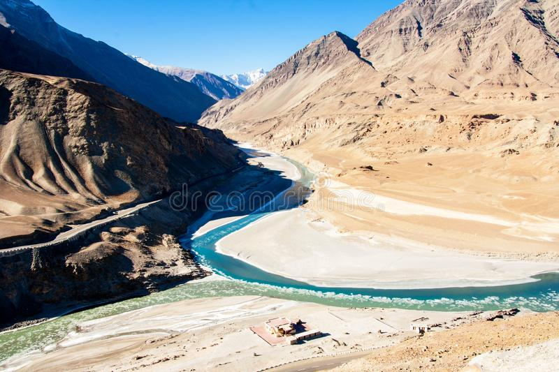 Confluence of Zanskar and Indus rivers and Beautiful Mountains. Leh, Ladakh, India royalty free stock images