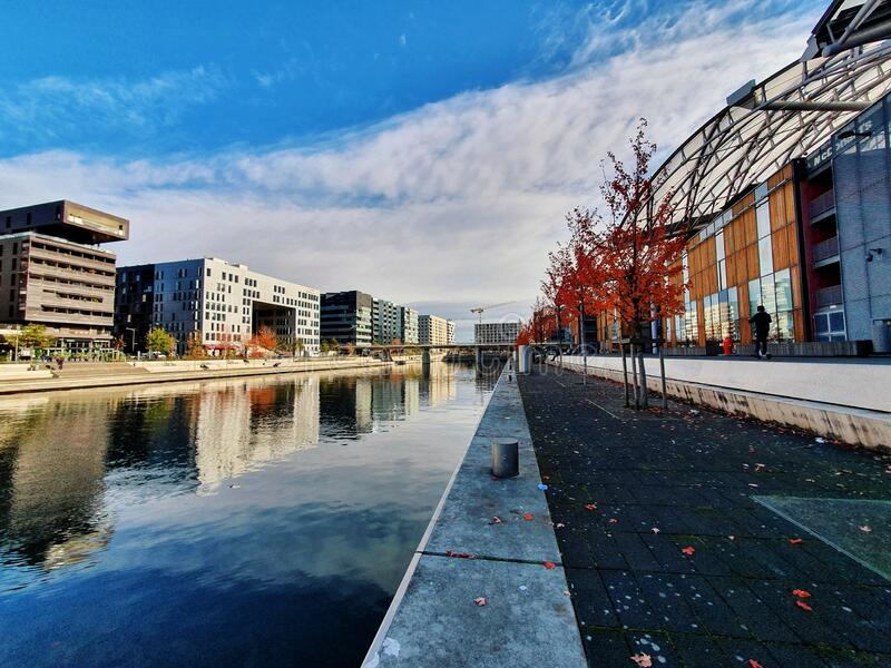 Confluences district, new town and modern part of city of Lyon, France royalty free stock images