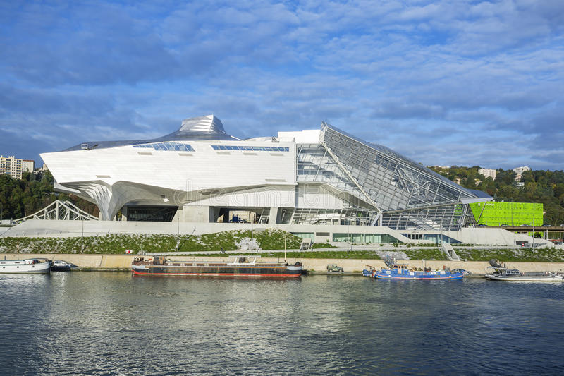 Confluences Museum end Rhone river. LYON, FRANCE, october 8, 2015 : Musee des Confluences is a science and anthropology museum which opened on 20 December 2014 stock photo
