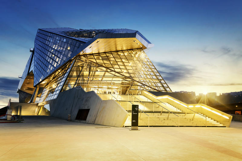 Confluences museum in Lyon. City buy sunset royalty free stock photos