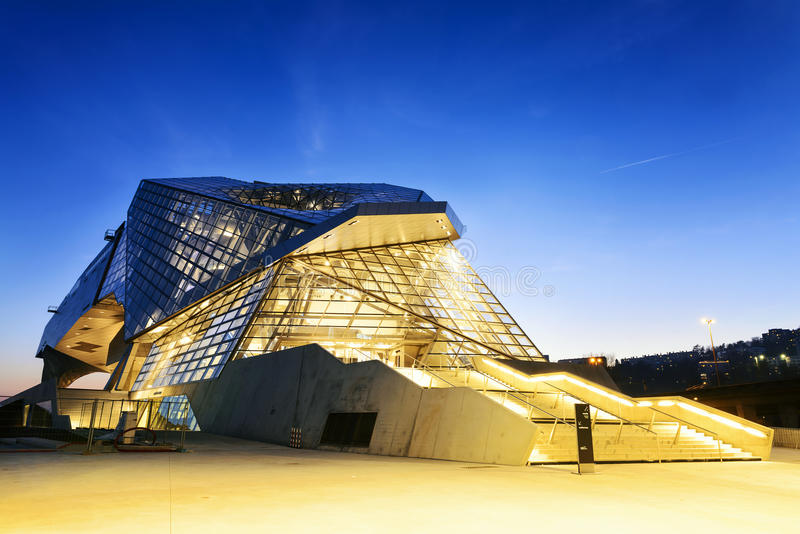 Confluences museum in Lyon. City buy sunset royalty free stock photo