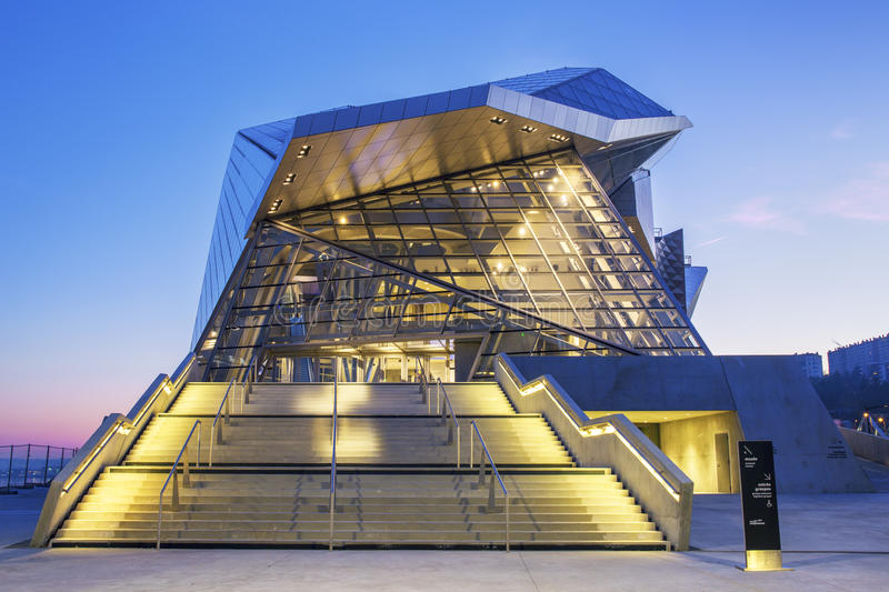 Confluences Museum. LYON, FRANCE, DECEMBER 22, 2014 : Musee des Confluences. Musee des Confluences is located at the confluence of the Rhone and the Saone rivers royalty free stock images