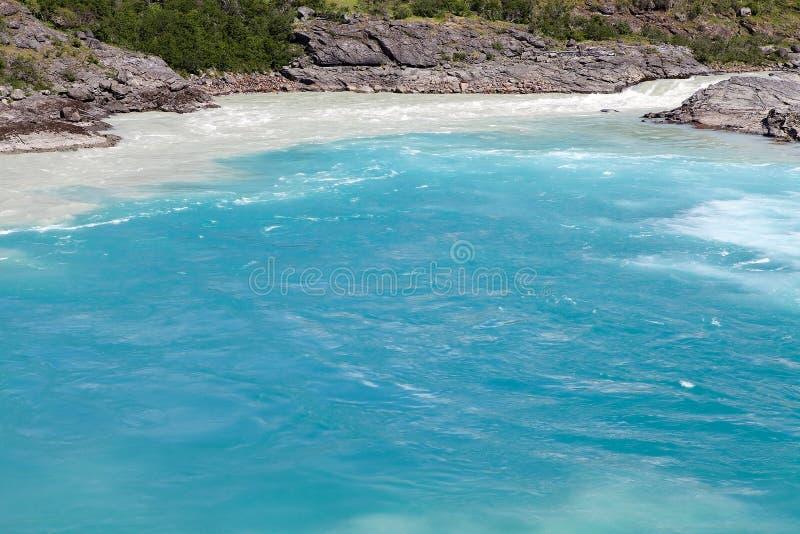 Confluent de Baker River et de rivière de Nef, Patagonia, Chili image stock