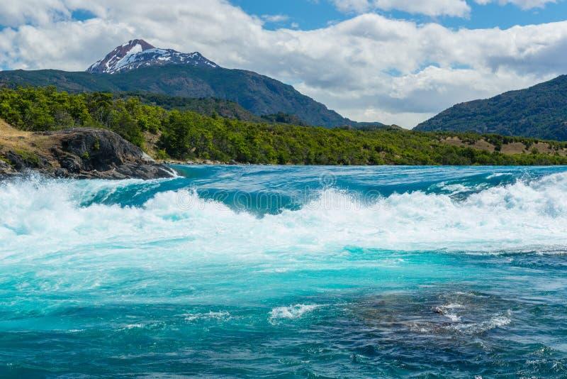 Confluent de rivière de Baker et de rivière de Neff, Chili image stock