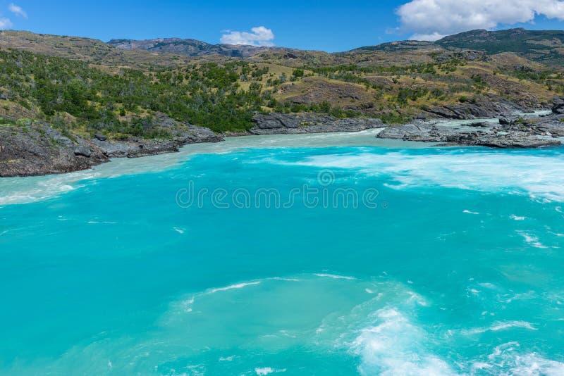 Confluent de rivière de Baker et de rivière de Neff, Chili images stock