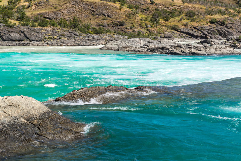 Confluent de rivière de Baker et de rivière de Neff, Chili photos stock