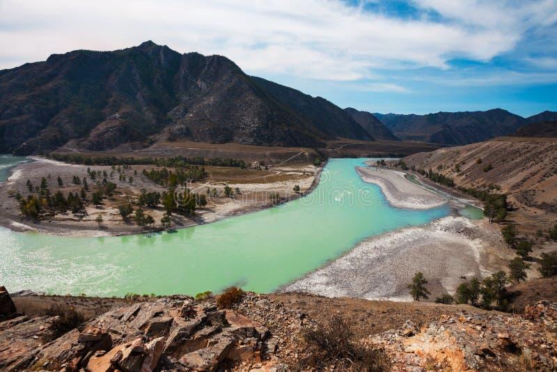 Confluent des deux rivières photos libres de droits