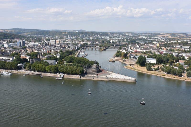Confluent des rivières du Rhin et de la Moselle, Coblence, Allemagne photographie stock