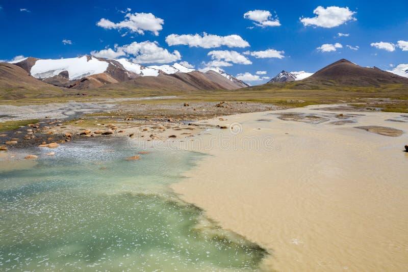 Confluent des rivières pures et boueuses photographie stock libre de droits