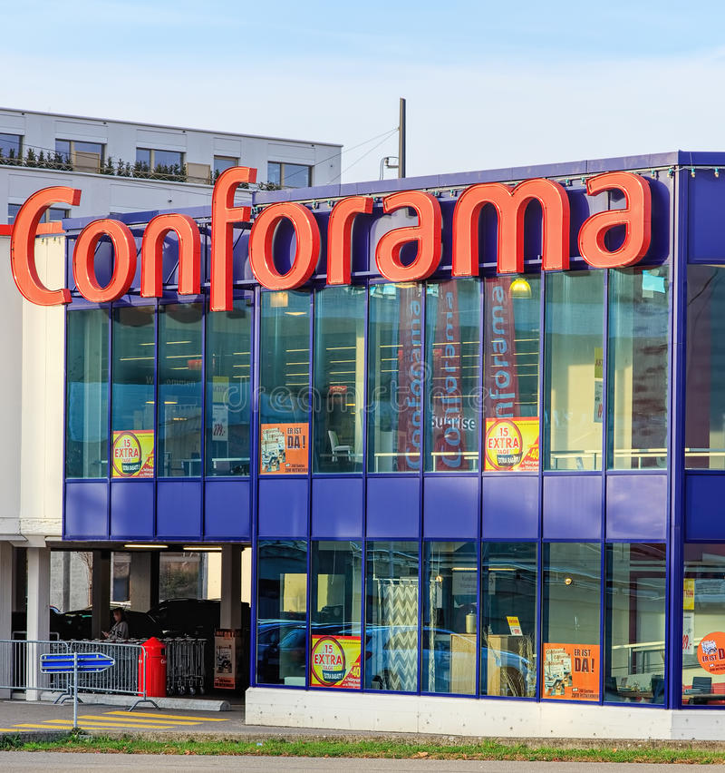 Conforama store building in Wallisellen, Switzerland. Wallisellen, Switzerland - 13 November, 2015: Conforama store building. Conforama is Europe's second royalty free stock photos