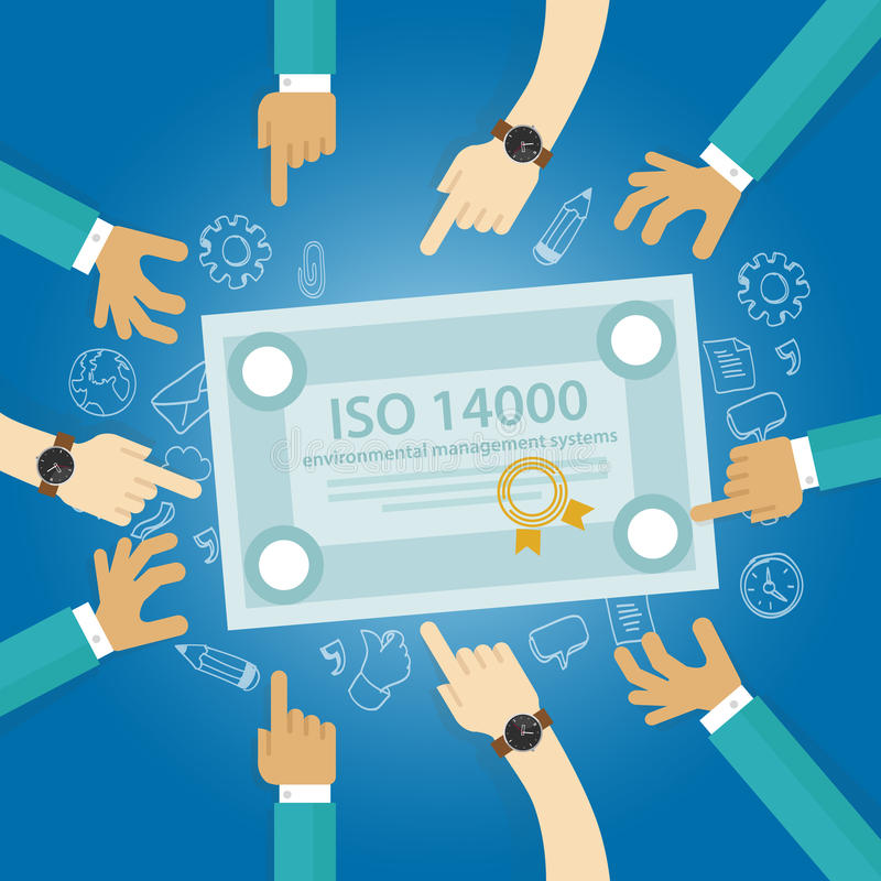 Conformidad del negocio de los estándares ambientales de la gestión del ISO 14000 al documento del control de la auditoría de la  ilustración del vector