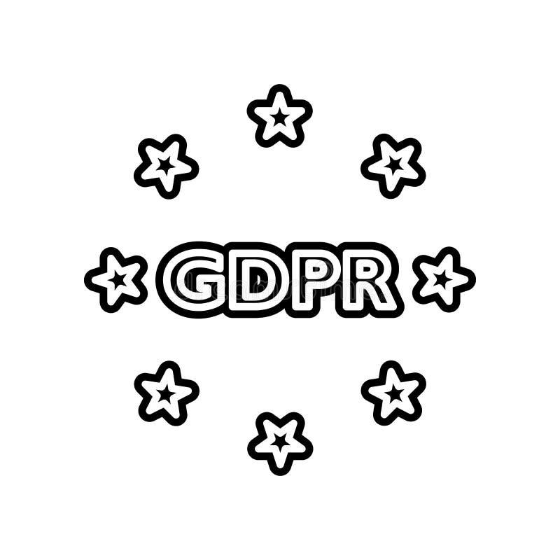 Conformidade, ícone do gdpr Elemento do projeto dos dados gerais para o conceito e o ícone móveis dos apps da Web Glyph, ícone li ilustração stock