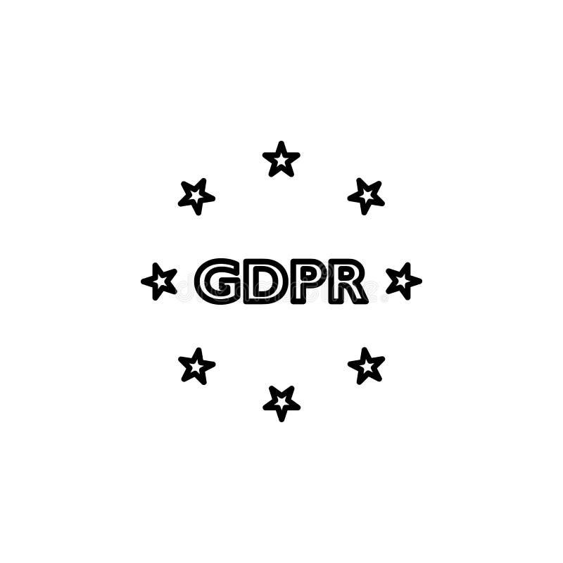 Conformidade, ícone do gdpr O elemento de dados gerais projeta o ícone para apps móveis do conceito e da Web A linha fina conform ilustração royalty free