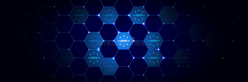 Conformidade, ícone do gdpr do projeto dos dados gerais ajustado no tecnologico ilustração do vetor