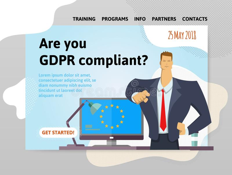 Conformidade de GDPR Regulamento geral da proteção de dados Homem de negócios que indica uma pergunta na frente do computador É v ilustração royalty free
