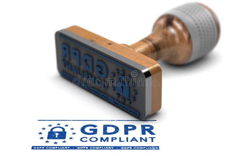 Conformidade de GDPR, regulamento geral da proteção de dados da UE complacente ilustração royalty free