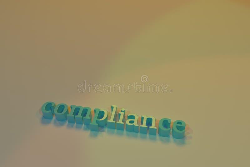 Conformidade, decorativa, tipografia das ilustrações, palavras-chaves do cgi, para o fundo da textura do projeto rendição 3d ilustração stock