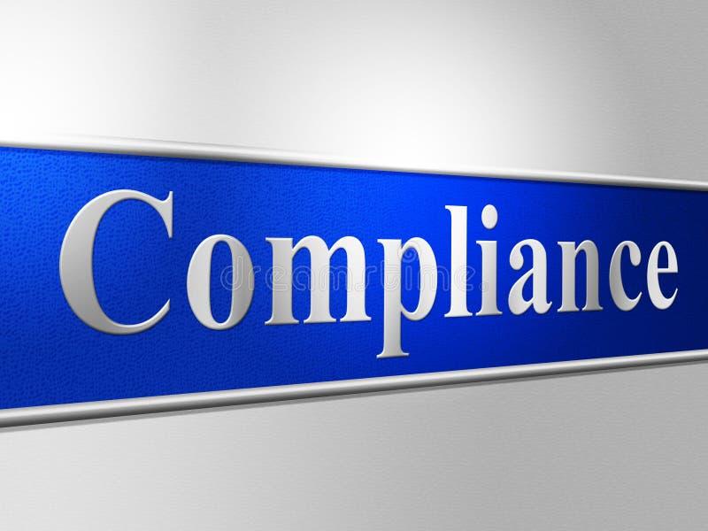 A conformidade do acordo mostra regulamentos da conformidade e cumpre ilustração royalty free