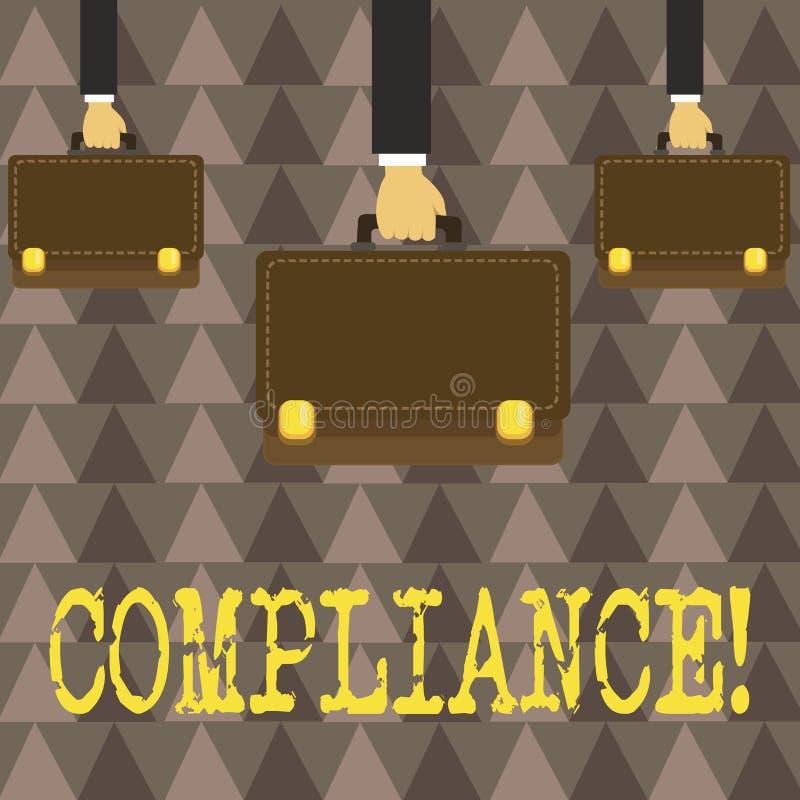 Conformidade do texto da escrita O conceito que significa Tecnologia Empresa ajusta seus regulamentos padrão da política ilustração do vetor