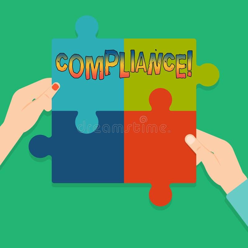 Conformidade do texto da escrita da palavra O conceito do negócio para Tecnologia Empresa ajusta seus regulamentos padrão da polí ilustração royalty free