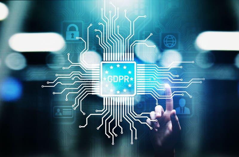 Conformidade europeia da segurança do Cyber da lei do regulamento da proteção de dados de GDPR imagens de stock